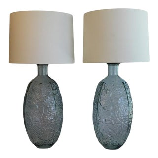 A Pair Of Voluminous Art Glass Table Lamps. For Sale
