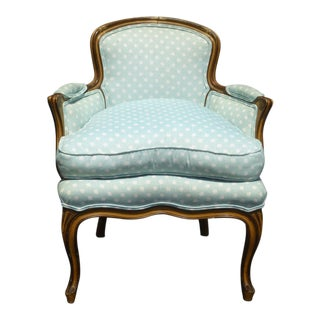 Vintage French Provincial Baby Blue Accent Chair W Down Cushion For Sale