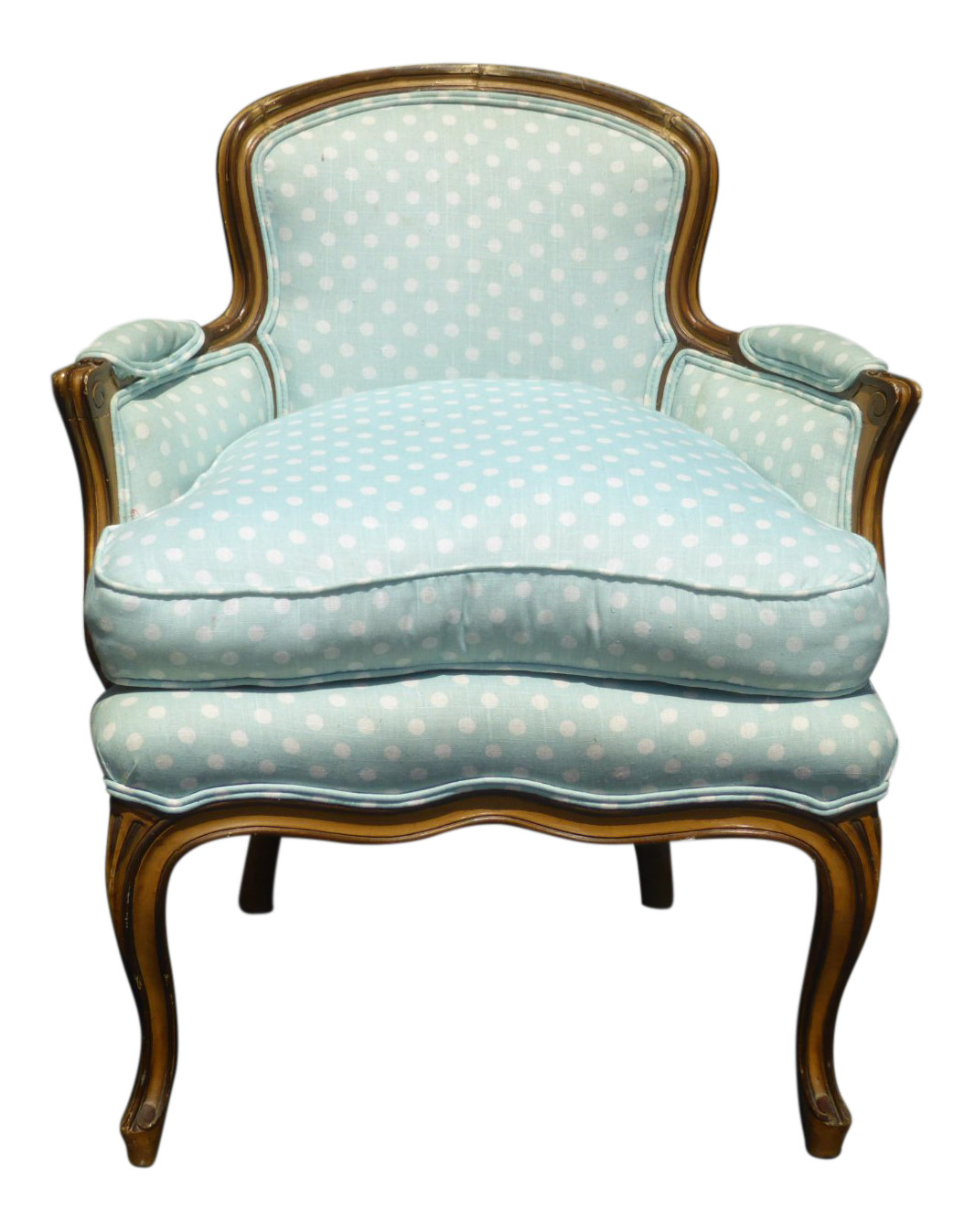 Attrayant Vintage French Provincial Baby Blue Accent Chair W Down Cushion