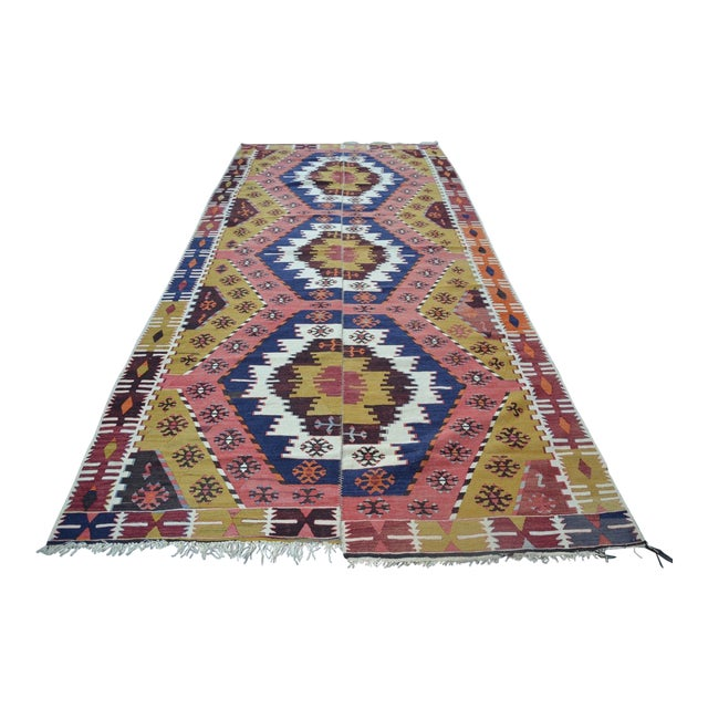 "Vintage Turkish Kilim Rug - 6' X 12'7"" For Sale"