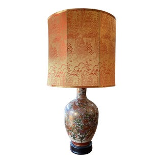 Fujita Kutani Famille Rose Floral Lamp With Original Lampshade For Sale
