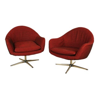 Overman Mid Century Modern Pair Swivel Lounge Chairs For Sale