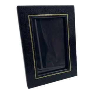 Black Leather Embossed Photo Frame, Made in Italy For Sale
