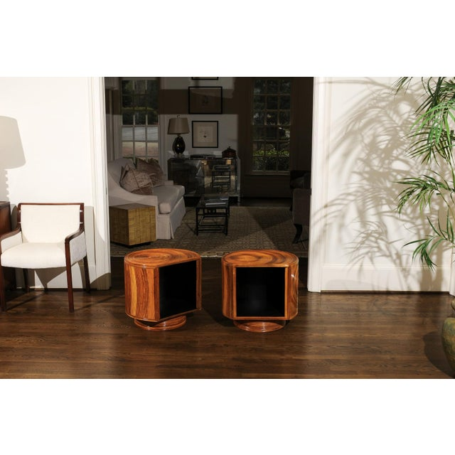 Chic Restored Pair of Swivel Bamboo and Black Lacquer End Tables, Circa 1975 For Sale - Image 9 of 13