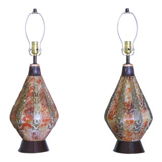 1950s Mid-Century Modern Brutalist Aztec Tiki Lounge Chalkware Lamps - a Pair For Sale