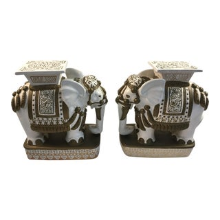 Vintage Elephant Garden Stools - a Pair For Sale