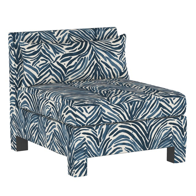 Blue Armless Chair, Washed Zebra Blue For Sale - Image 8 of 8