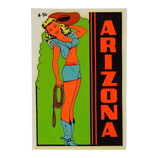 1950s Arizona Souvenir Pin Up Girl Cowgirl Decal For Sale
