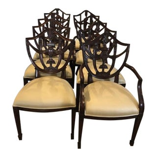 Carved Polished Mahogany Finish Hepplewhite Shield Back Chairs - Set of 8 For Sale