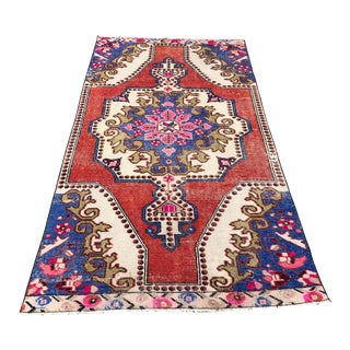 1960s Vintage Turkish Oushak Hand-Knotted Rug - 3′10″ × 7′3″ For Sale