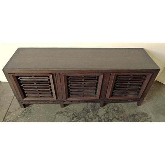 Mid-Century Low Walnut Cabinet For Sale In Los Angeles - Image 6 of 7