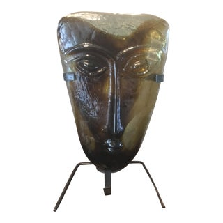 Kosta Boda Erik Hoglund Style Mid Century Blown Glass Mask With Sconce Stand For Sale