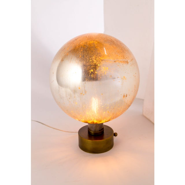 Brass Mercury Glass Sphere Table Lamp For Sale - Image 7 of 13