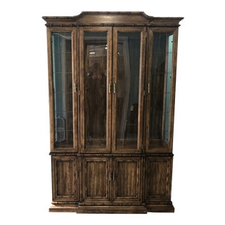 Mid 20th Century American of Martinville Faux Bamboo China Cabinet For Sale