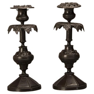 1900s Italian Bronze Candlesticks - a Pair For Sale