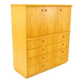 Jack Cartwright for Founders Mid Century 10 Drawer Armoire Gentlemans Chest For Sale