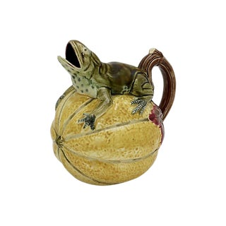 Antique Majolica Frog on Melon Pitcher For Sale