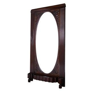 Solid Mahogany Art Deco Freestanding Grand Mirror For Sale