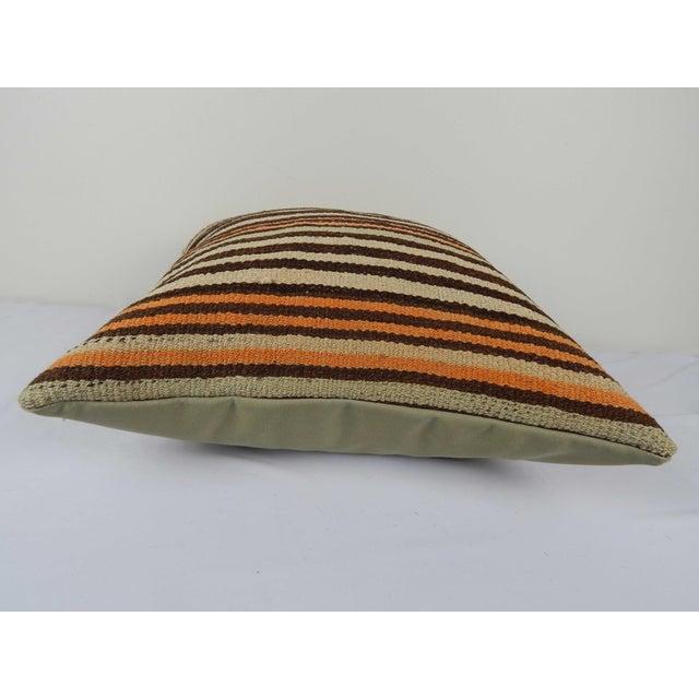 "Vintage Turkish Hemp Kilim Pillow Cover 20"" X 20"" For Sale - Image 4 of 6"
