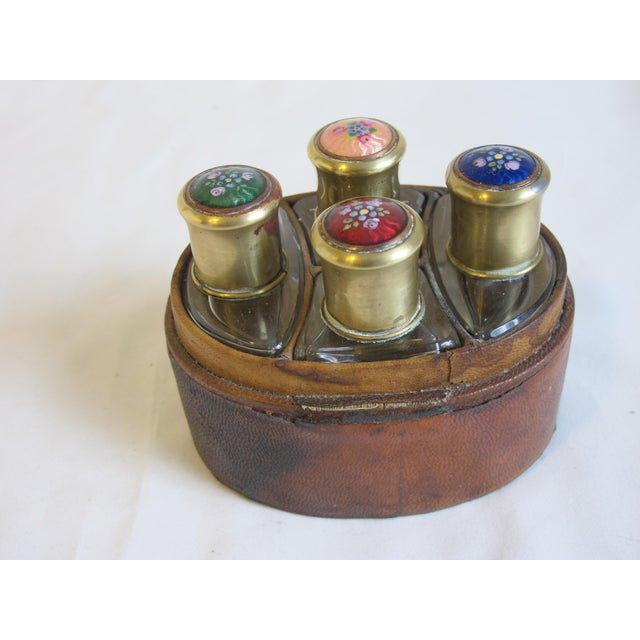 French Enamel Top Scent Bottles - Set of 4 For Sale - Image 3 of 4