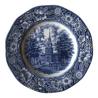 1970s Staffordshire Liberty Blue Ironstone Plate For Sale