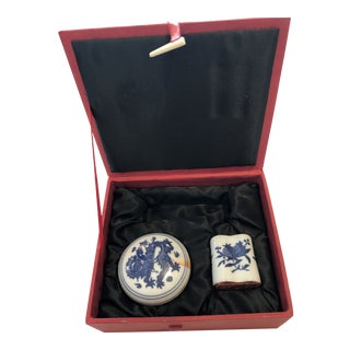 Ceramic Asian Stamp Set For Sale