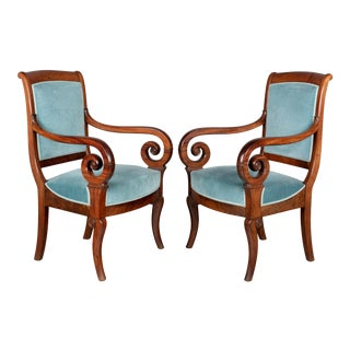 Antique French Restauration Style Armchairs - a Pair For Sale