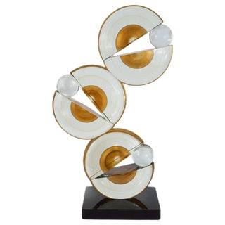 Modernist Handblown Murano Glass Geometric Sculpture With 24-Karat Gold Flecks For Sale