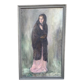 Original Oil Painting Large Portrait of a Woman by Bertha Hellebranth 1928 For Sale