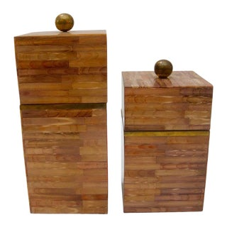 1980's Maitland Smith Tessellate Bone Boxes - a Pair For Sale