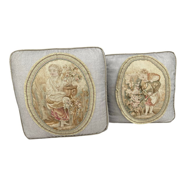 19th Century Aubusson Tapestry Pillows - a Pair For Sale