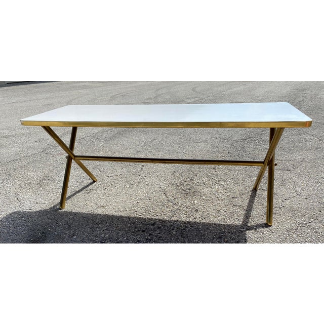 Brass X Frame Cofee Table For Sale - Image 9 of 9