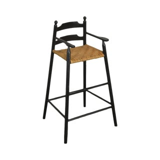 Country Black Painted Youth Arm Chair W/ Woven Rush Seat For Sale