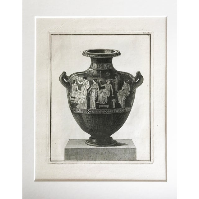 """18th Century Italian Engraving of a Classical Greek Hydra. Matted and presented in a silver frame. Image size: 6""""x 8""""."""