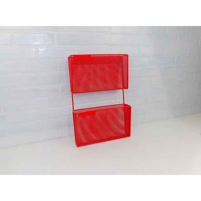 Vintage Red Metal Wall Mounted Organizer Mail Sorter Letter Holder For Sale - Image 9 of 9