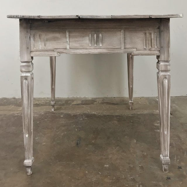 Wood 19th Century Country French Louis XVI Whitewashed End Table - Writing Table For Sale - Image 7 of 13