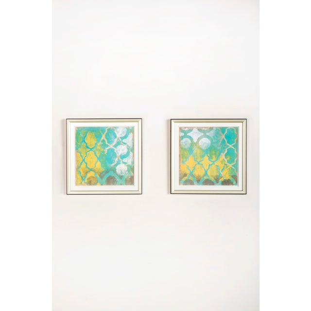 """New set of 2 wall art This set contains 2 pieces framed wall art Measurements: 15.5""""h x 15.5""""w Silver frame and glass..."""