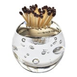Image of English Sterling Silver & Glass Match Striker For Sale