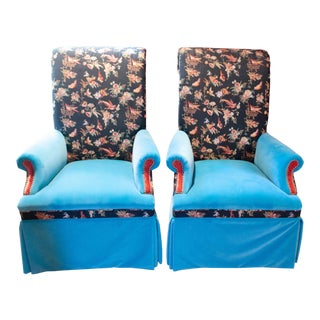 Vintage Mixed Fabric Arm Chairs- A Pair For Sale