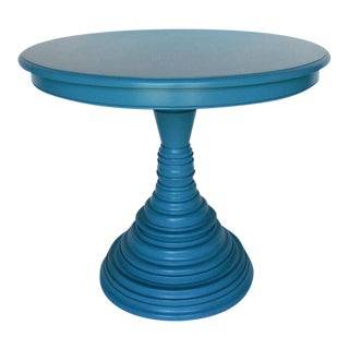 Custom Walnut Wood Round Beehive Base Pedestal Table For Sale