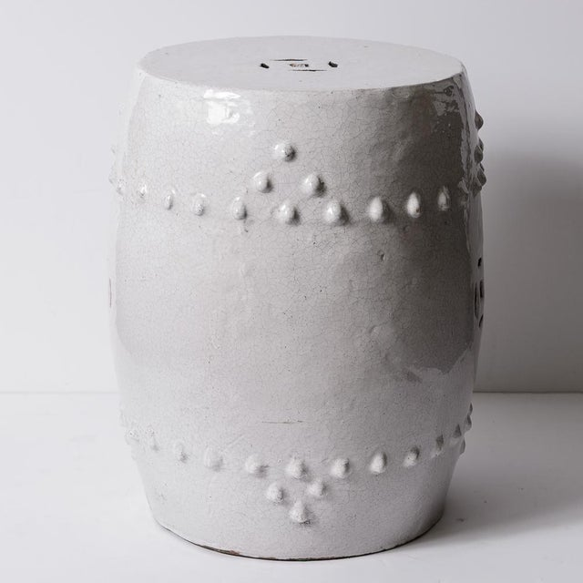 Antique Chinese White Glazed Crackled Terra-Cotta Garden Stool. Very good condition, no chips or repair