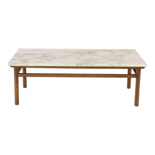 Gibbings Widdicomb Walnut Dowel Base Marble-Top Rectangular Coffee Table
