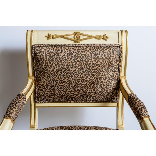 Louis XVI Leopard Upholstered Bergere Chairs - a Pair For Sale In West Palm - Image 6 of 10