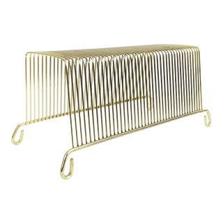 Mid Century Brass Table Top Record Rack / Letter Holder For Sale