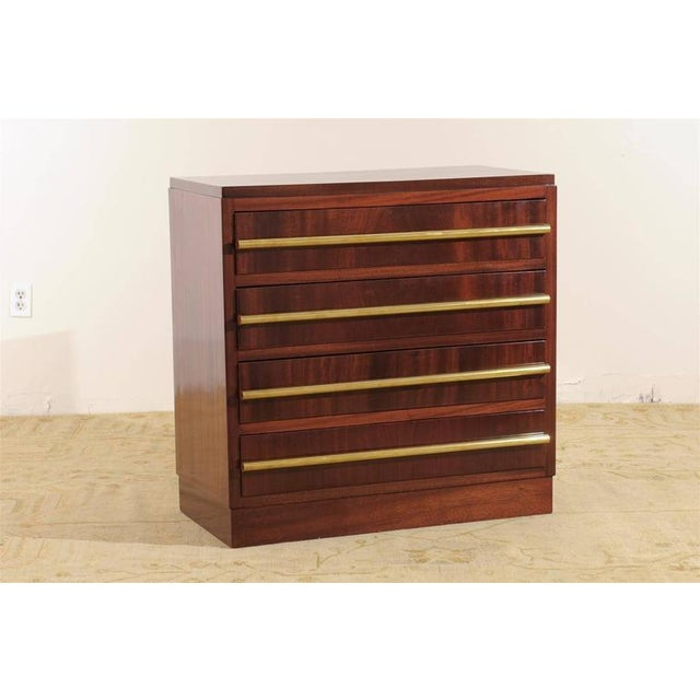 Art Deco Signed Andre Sornay Chest in Ribbon Mahogany and Brass For Sale - Image 3 of 11