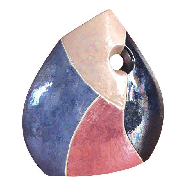 Vintage 1980s Postmodern Ceramic Vase For Sale
