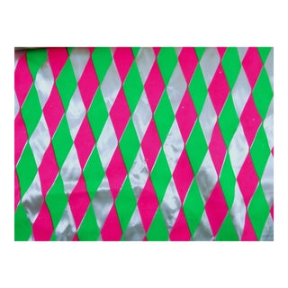 Retro Neon Pink Green Satin Fabric - 3 Yards For Sale