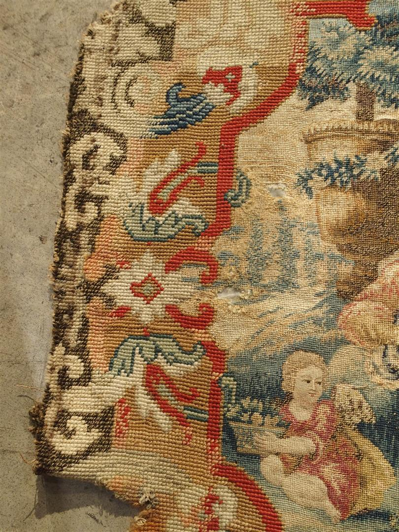 Rare 17th C. French Scenic Silk Tapestry With Needlepoint Border Chair Back  Panel   Image