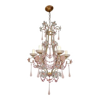 French Pink Opaline Murano Drops Bobeches and Beads Beaded Chandelier For Sale