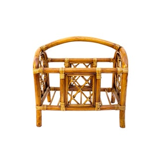 Vintage Bamboo Rattan Magazine Rack || Chinoiserie Chic | Beach House | Boho Decor For Sale